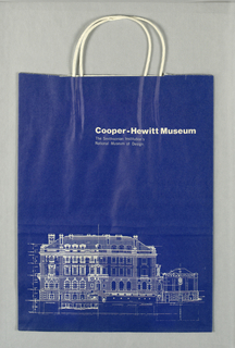 Cooper-Hewitt Museum, the Smithsonian Institution. Image of Carnegie Mansion museum building on blue background.