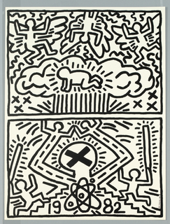 "Two images one above the other executed in black line with black frame in Haring's characteristic ""comic book"" style. Upper image shows a crouching figure in a nuclear cloud motif with three angeles hovering. The lower image depicts a large figure with a black ""X"" on it's head instead of features and upraised arms ending in heads and arms rather than hands. On either side two figures run up steps carrying sticks. The date ""1982"" is prominately shown at lower center surrounding a nuclear symbol."