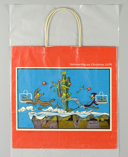 "Red-orange bag with drawing of cartoon characters  Wile E. Coyote and Road Runner, each holding a replica of this shopping bag, on cliff.  Store name and ""Christmas 1978"" above. Side panels: Store name in white script on red."