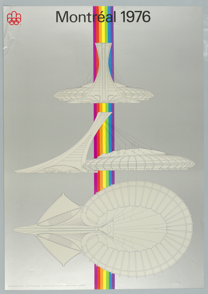 Against a metalic silver background with a long vertical rainbow stribe at center, are presented linear renditions of plan and section views of the main Tower and Exhibition Hall of the Montréal Olympic Park Project.