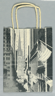 "Wall street with Trinity Church and flags in shades of grey and white. ""Grey Flannel"" in white on dark grey."