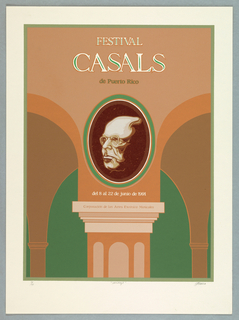 Head of a man (Casals) within oval frame, located at juncture between arches (above a  column) - fragment of an arcade.  Image printed in terra cotta (2 tones), green, brown.