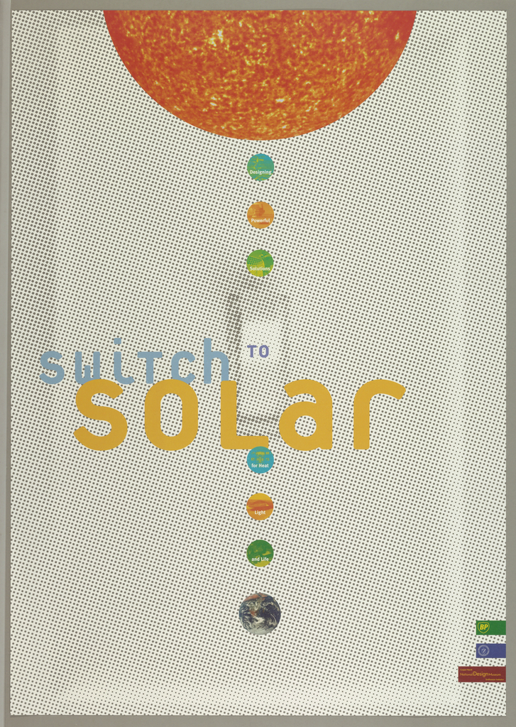 Poster for 1998 Cooper-Hewitt, National Design Museum exhibition.  On verso, is a list of  institutional resources for solar energy education and design.
