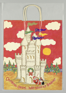"""Burdines Christmas Dreams/ Build Yours at Building"" in red. Small Santa Claus with bag of toys asleep at base of castle among Christmas trees; red background. Side panels: ""Burdines: A Florida Christmas Tradition."""