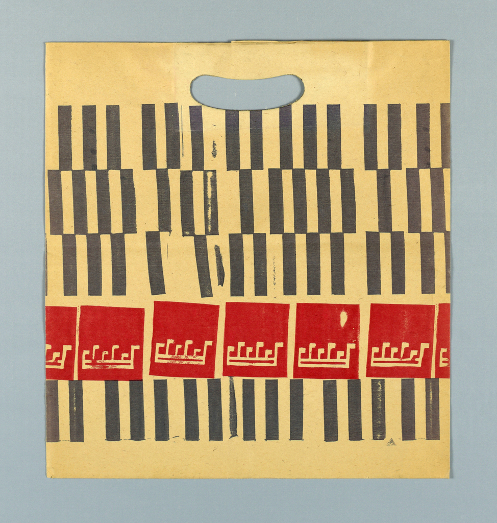 Four rows of vertical lines suggestive of piano keys and one row of inverted bars of music.  Block print in gray and red on beige paper.