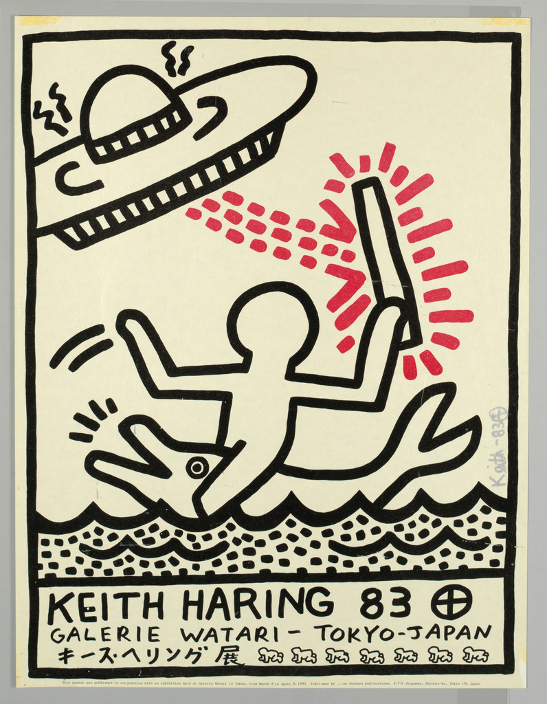 "Black line drawing in Haring's characteristic ""comic book"" style depicting a man riding a dolphin carrying a stick which is bombarded by a red arrow which is projected by a space ship at upper left. The design in printed against a sliver background. Below image a block of text across bottom of sheet in hand lettering reads KEITH HARING 83 followed by a cross in circle, followed by GALERIE WATARI - TOKYO - JAPAN  and below at left are Japanese characters and at right seven crawling babies."