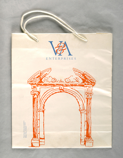 "Recto: ""V&A Entreprises"" in black and orange at top; archway at center background. English Carved Pine Doorway Circa 1680, Removed From Mark Lane, London. Verso: Left, mint green porch doorframe and jambs, English, 1707, Removed from Great Ormond St., London; right, blue door and doorway, English, circa 1780, Removed from a house in Great Queen St., Lincoln's Inn Fields."