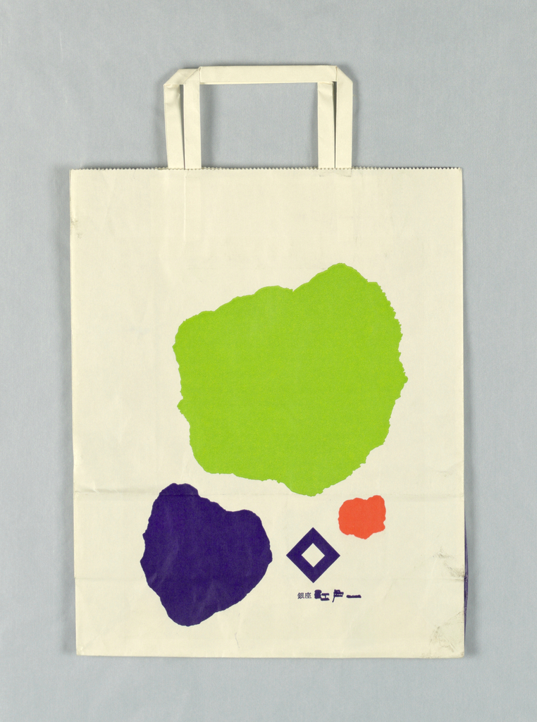 Green, red, purple paint spots and purple diamond shape on white background.  Japanese text at bottom in purple. Side panels: text in white.