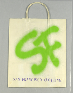 """SF/Clothing"" in green graffiti-like font on white paper. San Francisco Clothing in purple at bottom."
