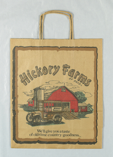 "Brown bag with illustration of red barn, green trees, and old car on brown.  Framed in brown and black.  Food store name in arc over images. ""Hickory Farms"" repeated several times in side panels."
