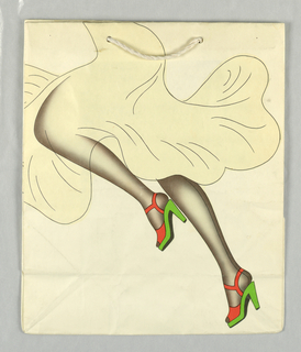 """Recto: Woman in dark stockings with red and green shoes running. Verso: close-up of same image. """"Parco"""" in right side panel."""