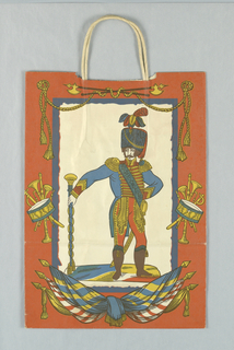 Recto: Soldier, leaning on baton, dressed in uniform of nineteenth century Royal French Guards. Verso: Soldier at attention. Flags and musical instruments. Rust-red, white, blue and gold.