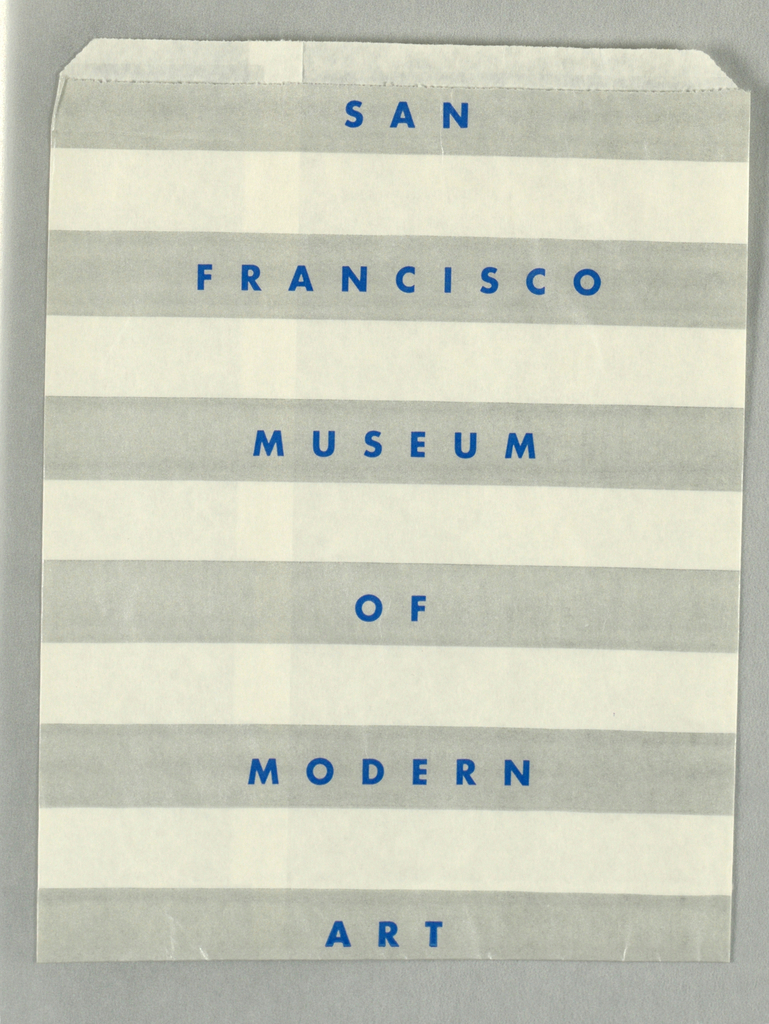 """Recto: Silver and white horizontal stripes with """"SAN/ FRANCISCO/ MUSEUM/ OF/ MODERN/ ART"""" in blue on the silver horizontal stripes."""
