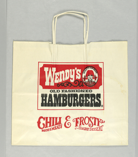 """Wendy's/ Old Fashioned/ Hamburgers"" bag, white with black and red lettering; logo in central rectangle."