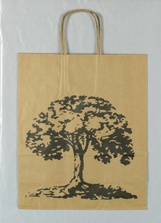 Recto: Drawing of house. Verso: Drawing of tree.  Store name in side panels. Black on natural brown paper.