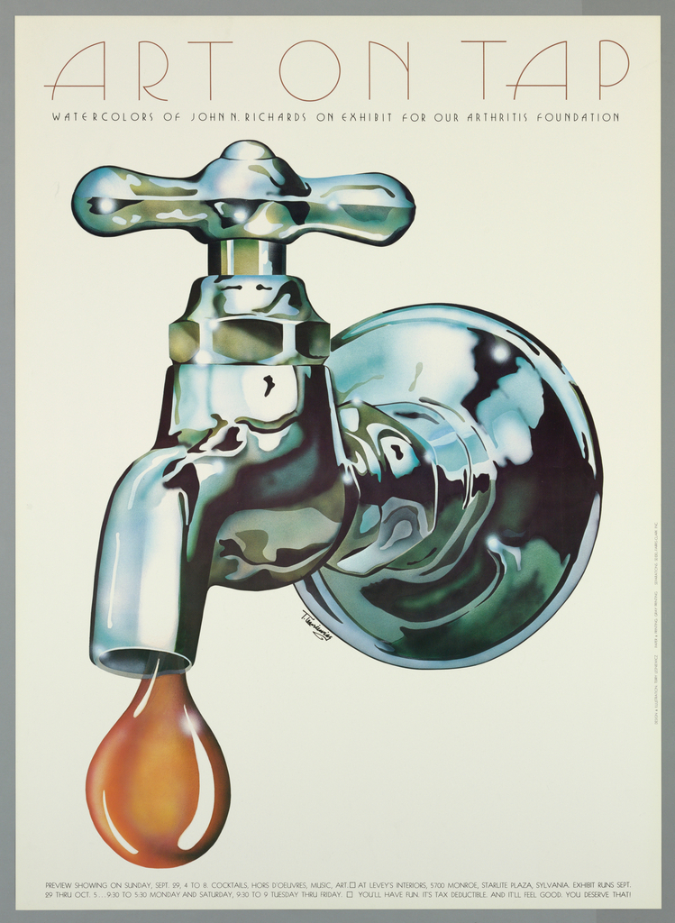 Poster, Art on Tap: Watercolors of John N. Richards on exhibit for our Arthritis Foundation, late 20th century