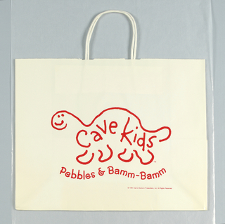 """""""Cave Kids/ dinosaur/ Pebbles and Bamm-Bamm"""" in curved text; line drawing of dinosaur in red on white."""