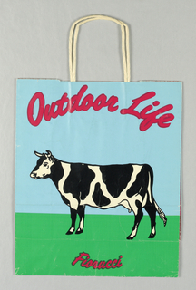 "Image of black and white cow against blue sky and green grass.  ""Fiorucci/Outdoor Life"" in red against blue;""Fiorucci"" in red against green. Store  address at bottom."