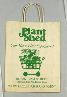 """Plant/Shed/Your House Plant Supermarket"" in green; green image of plant in shopping cart on cream background; address below."