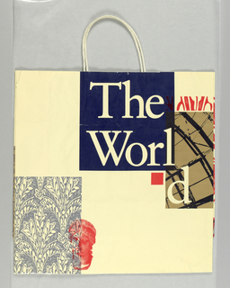 "Red, blue, and brown design with flowers, skyscraper, and statue head on cream background; ""The World Financial Center"" divided among several areas of bag in text blocks."