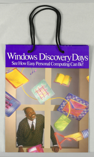 Windows Discovery Days/ See how easy personal computing can be.  Glossy paper with photo reproduction of man looking out window, with floating objects, e.g., mouse, book, etc. Design continues in side panels.