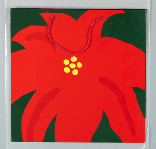 Red flower with yellow center; glossy red background. Side panels: Georgetown Park Mall in red on black.