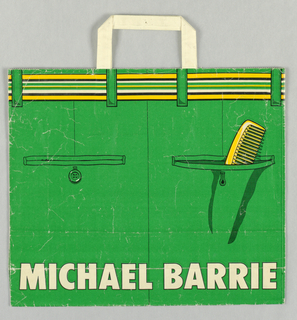 Bag for men's clothing store. Recto: Rear view of trousers in yellow and black on green background, with comb in right pocket. Verso: Front view. Client name in white, bottom center.