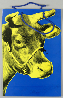 "Recto: Reproduction of Warhol's ""Cow Wallpaper"" with yellow head of cow on blue background.  Verso: Reproduction of Warhol's ""Cow Wallpaper"" with pink head of cow on yellow background.  Side panels: Imprinted in pink, ""ANDY WARHOL/ A RETROSPECTIVE/ The Museum of Modern Art, New York/ February 5-May 2, 1989/ The Art Institute of Chicago/ May 31-August 13, 1989."""