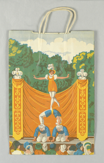 """Outdoor scene in  c.18th century style. Recto: Four acrobats performing on stage in front of orange swag curtain; green trees and sky in background; row of heads of audience members in front. Verso: Acrobat on tightrope; clown and performing dog below. Side panels: Vertical design of jugglers. Base: """"Lexington""""."""
