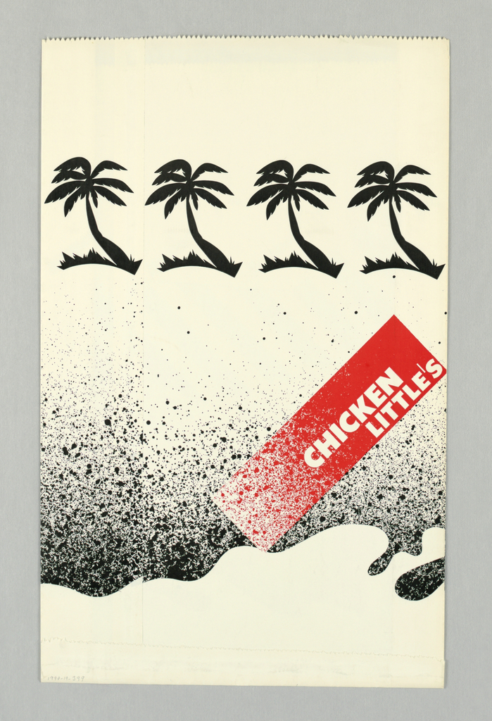 Black and white stripped map of California placed horizontaly on spattered field resembling a beach. Stylized palm trees in black at top of bag. Red rectangle with Chicken Little's in white. Stylized white wave form at bottom. Two red arrows at areas of San Francisco and Los Angeles. Verso: similiar with no map.  Design continues on sides of bag.