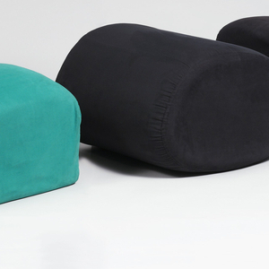 Sofa made up of five separable elements. When stacked together, they form single square unit. Each of five elements differently shaped to fit together, but also to make separate seating section. Sections a and c are green; b, d, and e black. Each piece covered in cotton suede cloth, with stitched reinforced edges.