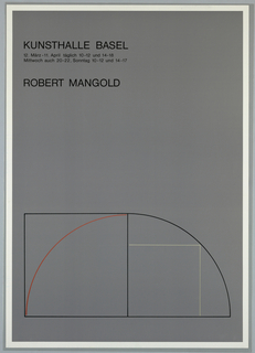 Art exhibition poster on gray background with white border.  Text is placed in upper left corner; image is at bottom.   The image shows an outline drawing of a shaped canvas, comprised of a a black outline of a square(left) abutted to half of a semicircle (right).  Within the square is a red-line arc; within the segment of a circle is a right angle in gray.