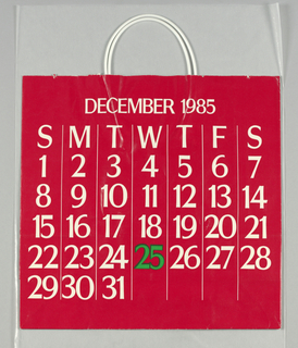 "December calendar page; white numbers, except ""25"" in black, on red background."
