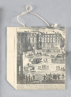 "Recto: 18th century print of Place des Victoires on small square white bag. Verso: ""Victoire"" in black at bottom."
