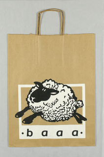 "Recto: White and black illustration of sheep running left. Verso: Stamp showing sheep and text ""baaa/ bag art and associates, 1985."""