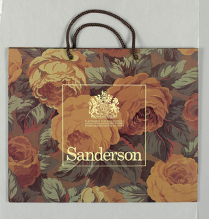 """""""Arthur Sanderson and Sons Ltd. London"""". Large all over floral pattern in fall colors.  Text in cream at center with coat of arms above in box."""