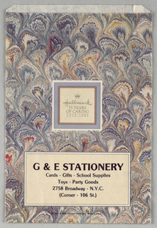 """G & E Stationery/ 75 Years of Caring: 1910-1985""; background design of bookend shapes; lilac and tan paper."