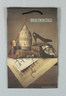 """""""Shoes from Italy/ Sponsored by the Italian Trade Commission, NYC""""; photo of shoe. Matte brown paper."""
