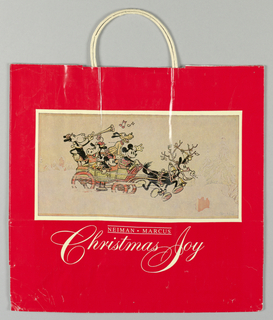 "Red bag with drawing of Mickey, Pluto, and other Disney characters  in Christmas carriage, pulled by one reindeer.   Store name in print letters and ""Christmas Joy"" in script below illustration."