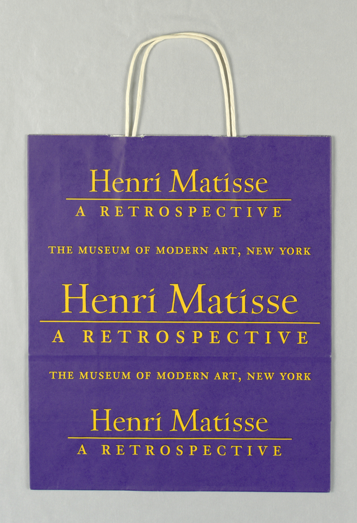 """Henri Matisse: A Retrospective, the Museum of Modern Art, 1992"" in yellow on purple background. Side panels: MoMA full name and address in purple on yellow."