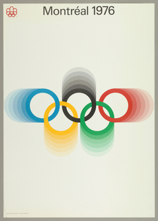 The Olympic five rings symbol is at center on a white background. The blue, yellow, black green and red interlocking rings are are presented in gradiated bands. Montréal 1976  in black at upper center.