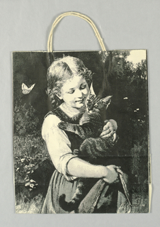 "White with black reproduction of engraving of girl with kitten, ""Pussy and I.""  Butterfly on left."