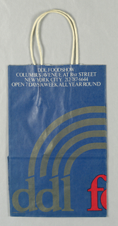 "Logo in gray and red on blue paper bag; store name ""DDL"" and address. Side panels: Delivery and Catering Available; telephone number."