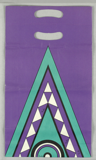 "Recto: Spire shape with triangles within circle. Facsimile signature ""Emilio"", twice.  Verso:  Circle in center; ""Emilio Pucci""     within. Predominantly purple."