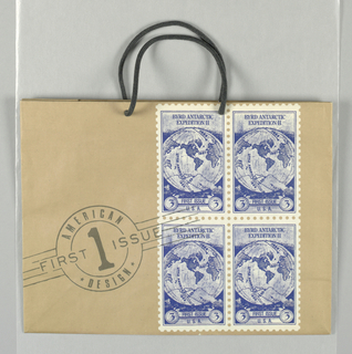 """Recto: """"FIRST ISSUE"""" in large black font centered on natural brown paper;  at right, four blocks of identical blue cubes and white postage stamps, with a First Issue American Design postmark (logo design). Cancellation lines continue in one side panel."""