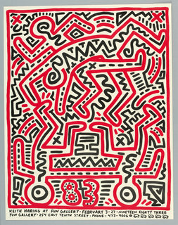 "Red and black interlocking figures create an all over pattern. Distinct figures include two that are upside down are lower left and right on eith side of ""83"". Enclosed by a red border."
