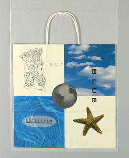 Sketch of heads and photos of sky, starfish and globe on white background.  Left side panel: Nordstrom, Spring 1991.