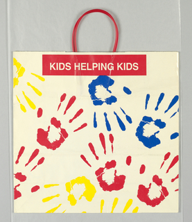 "Side panels:""Foley's/of course/Kids Helping Kids"". Recto and Verso: Red, yellow, and blue handprints on white."