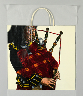 "Image of Scottish bagpiper in red and black tartan on white. Side panels: ""A Celebration of Britain, Fortnight XXIII"" in red and store name in white script, both on black."
