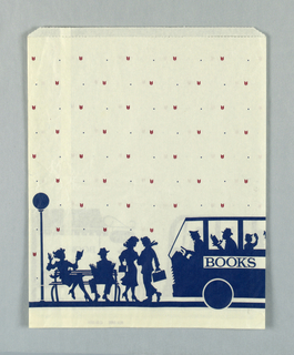 Street scene with bookstore, bus, man reading on bench, etc. in blue and white on background of mauve chevron pattern.